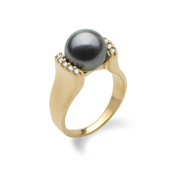 Tahitian Black Pearl Ring in Gold with Diamonds-Maui Divers Jewelry