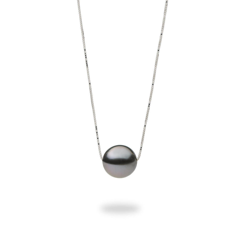 "16-18"" Adjustable Tahitian Black Pearl Slider Necklace in White Gold"