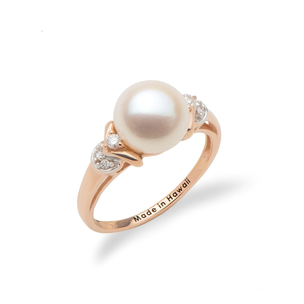 White Freshwater Pearl Ring in 14K Rose Gold with Diamonds