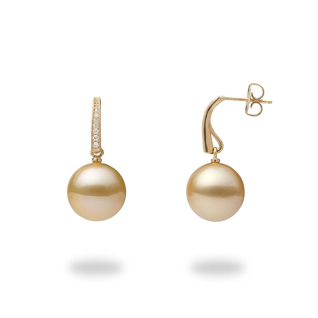 South Sea Golden Pearl (13-14mm) Earrings in 14K Yellow Gold with Diamonds