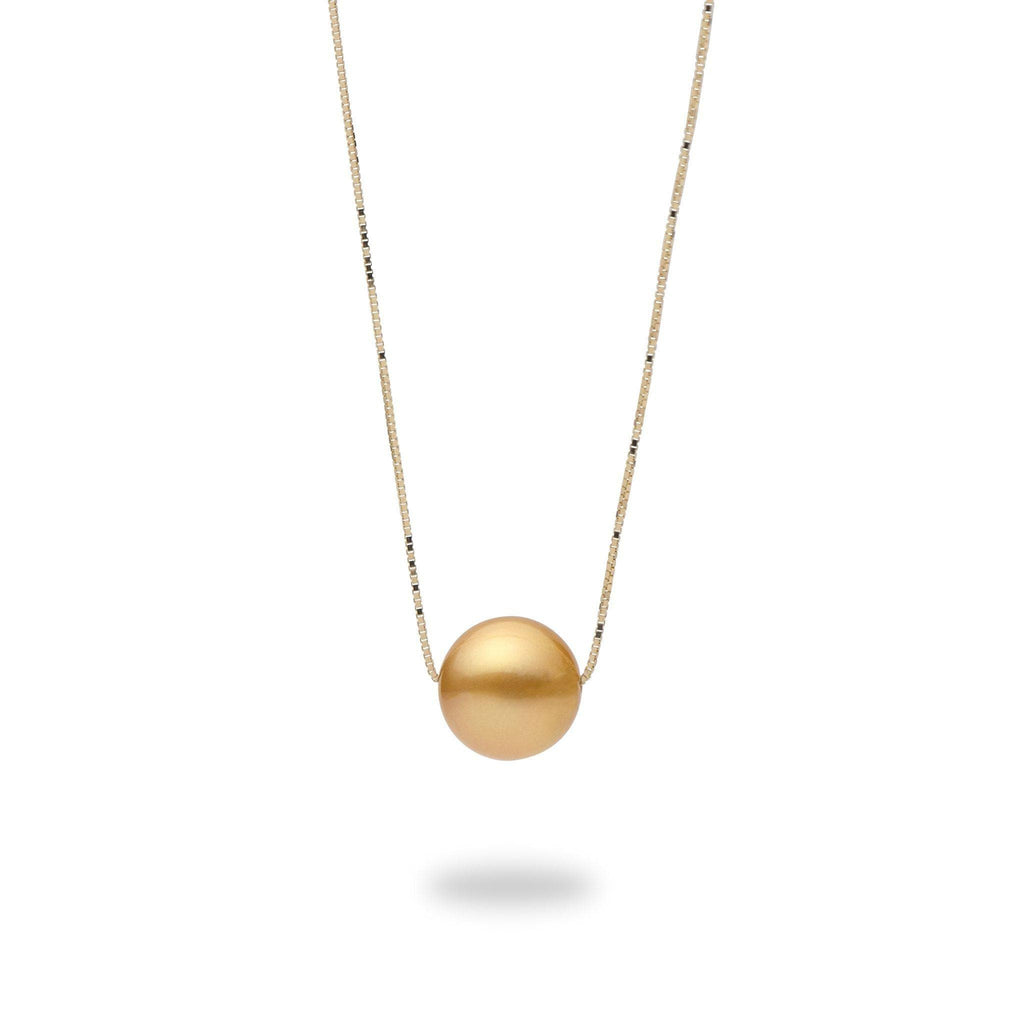 Gold South Sea Pearl (9-10mm) Necklace in 14K Yellow Gold 006-15195