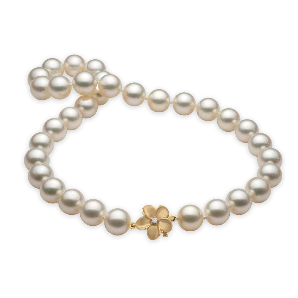South Sea White Pearl Strand in 14K Yellow Gold with Diamonds (12-15 mm)