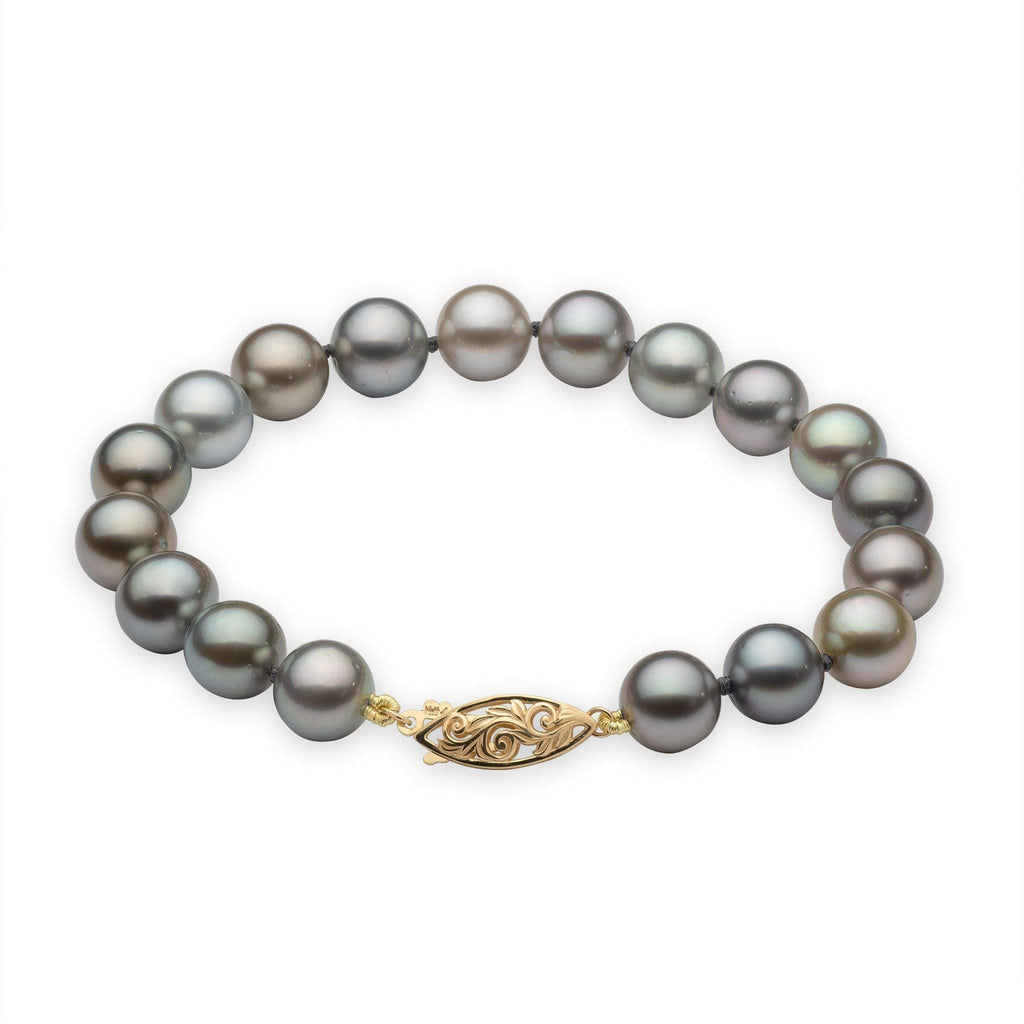Tahitian Black Pearl (9-10mm) Bracelet in 14K Yellow Gold 006-15198