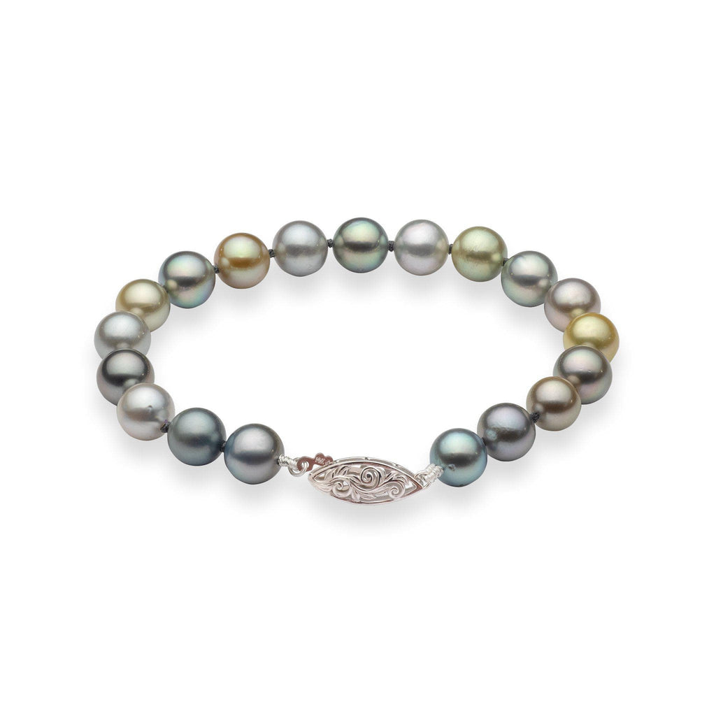 Tahitian Black Pearl (8-9mm) Bracelet in 14K White Gold 006-15200