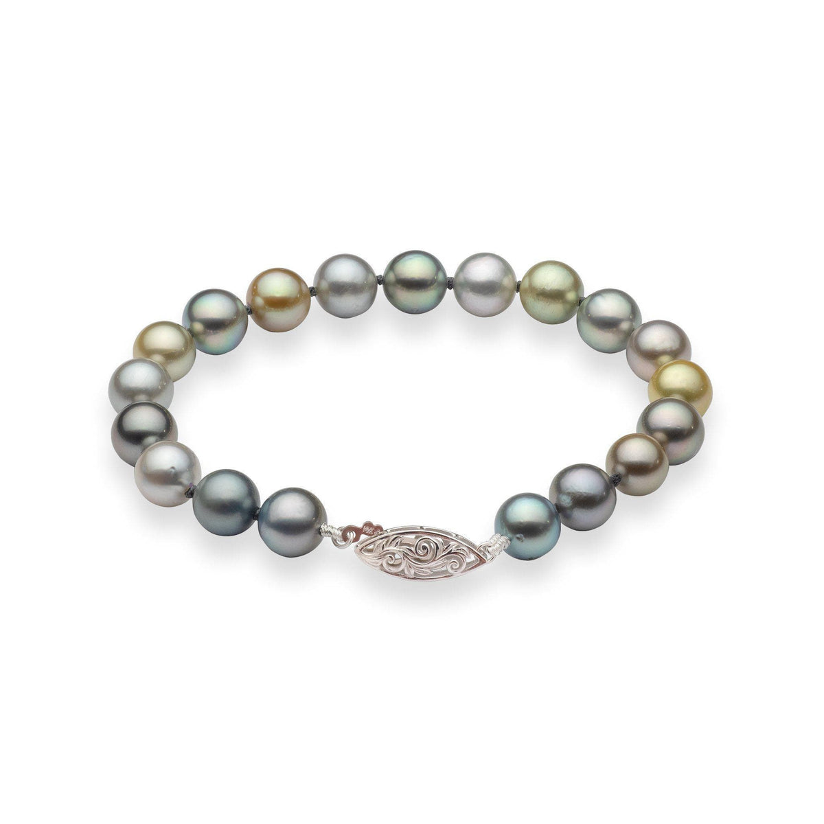 Tahitian Black Pearl Bracelet in 14K White Gold (8-9mm)