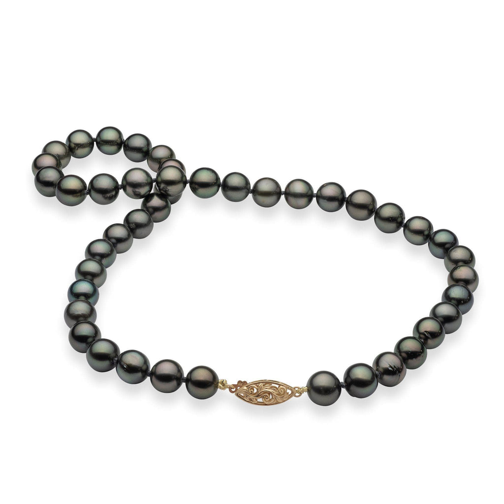 Tahitian Black Pearl (9-10mm) Strand in 14K Yellow Gold 006-15201