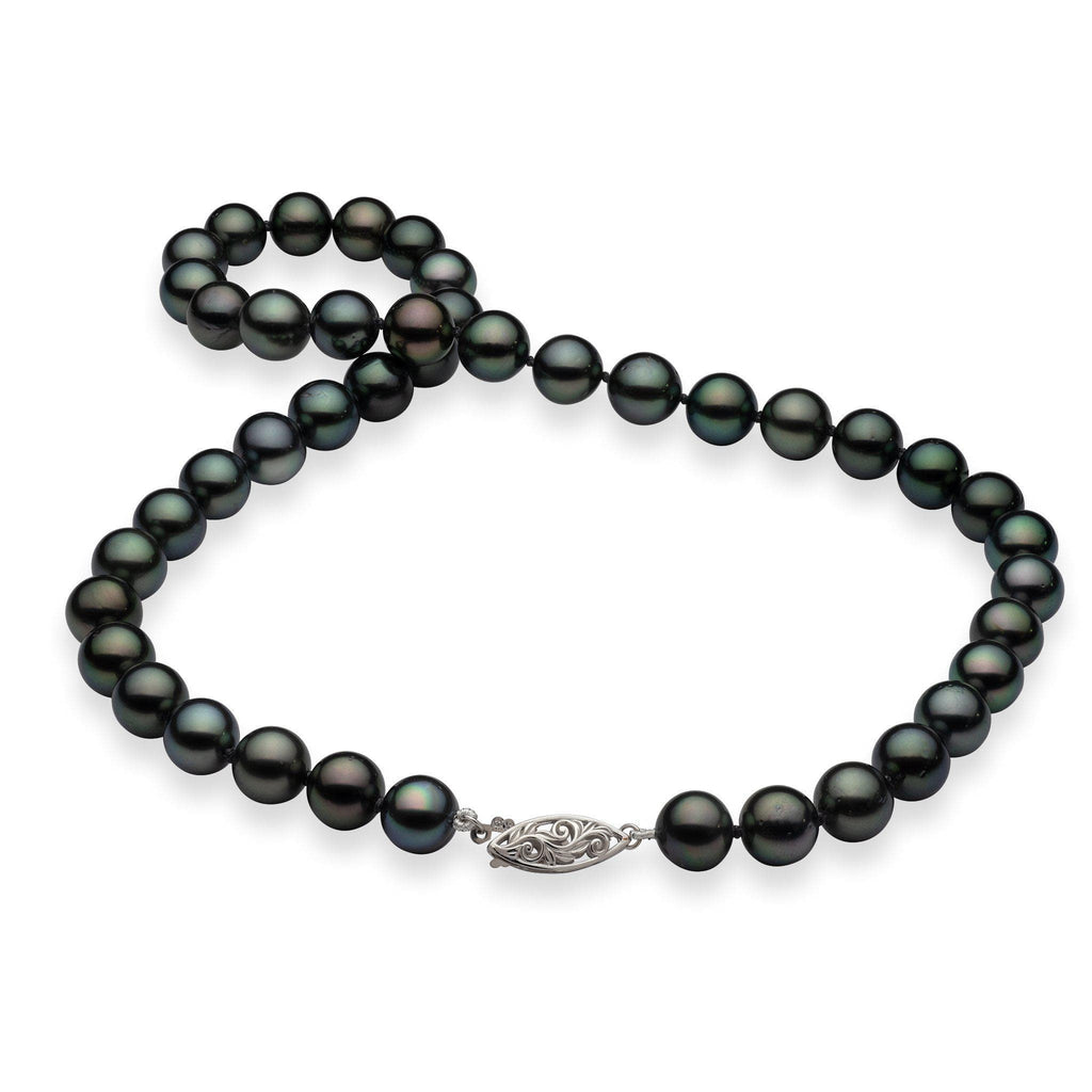 Tahitian Black Pearl (9-10mm) Strand in 14K Yellow Gold 006-15202