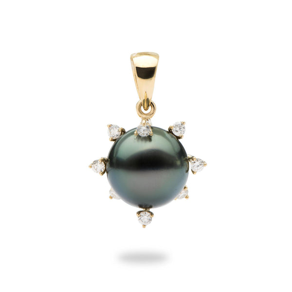 Protea Tahitian Black Pearl Pendant in Gold (11-12mm)-Maui Divers Jewelry