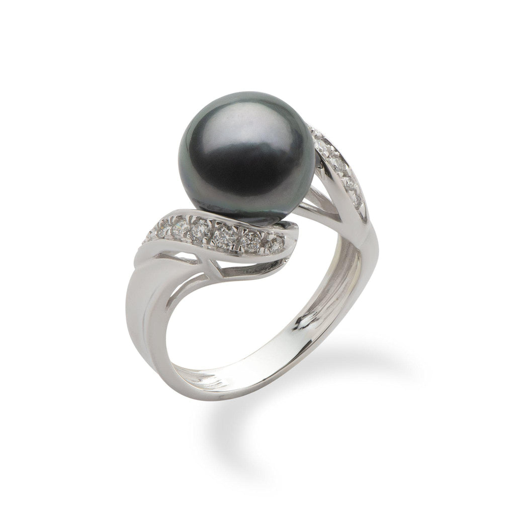 Tahitian Black Pearl Ring in 14K White Gold with Diamonds