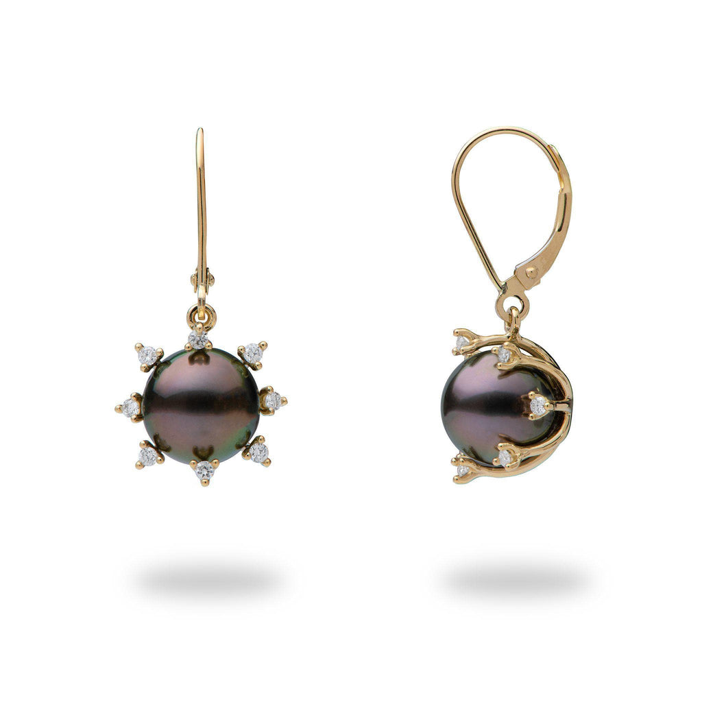 Tahitian Black Pearl (9-10mm) Earrings in 14K Yellow Gold with Diamonds-006-15213