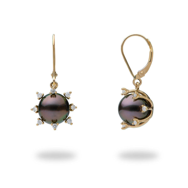 Protea Tahitian Black Pearl Earrings in Gold with Diamonds (9-10mm)-Maui Divers Jewelry