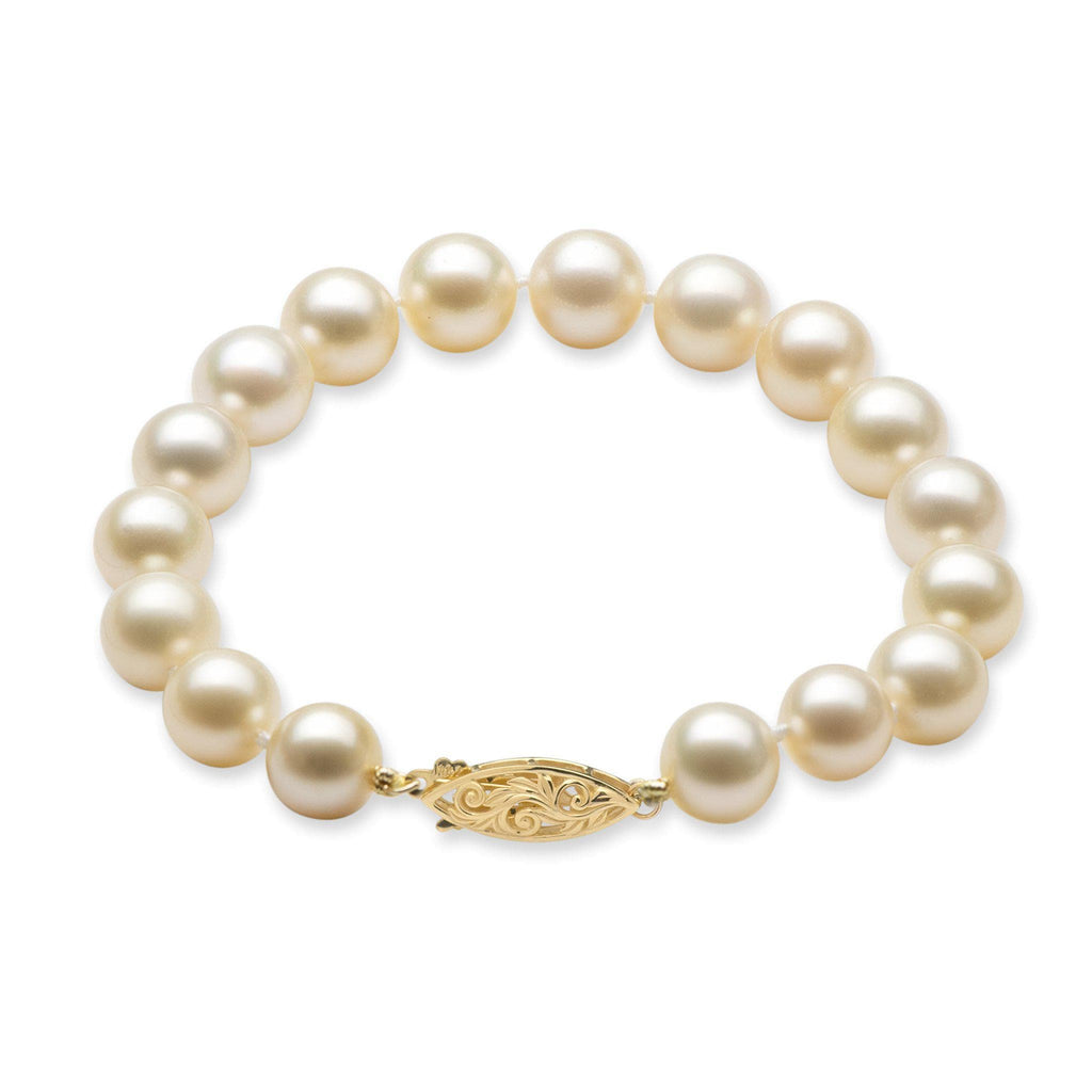South Sea Cream Pearl Bracelet in 14K Yellow Gold