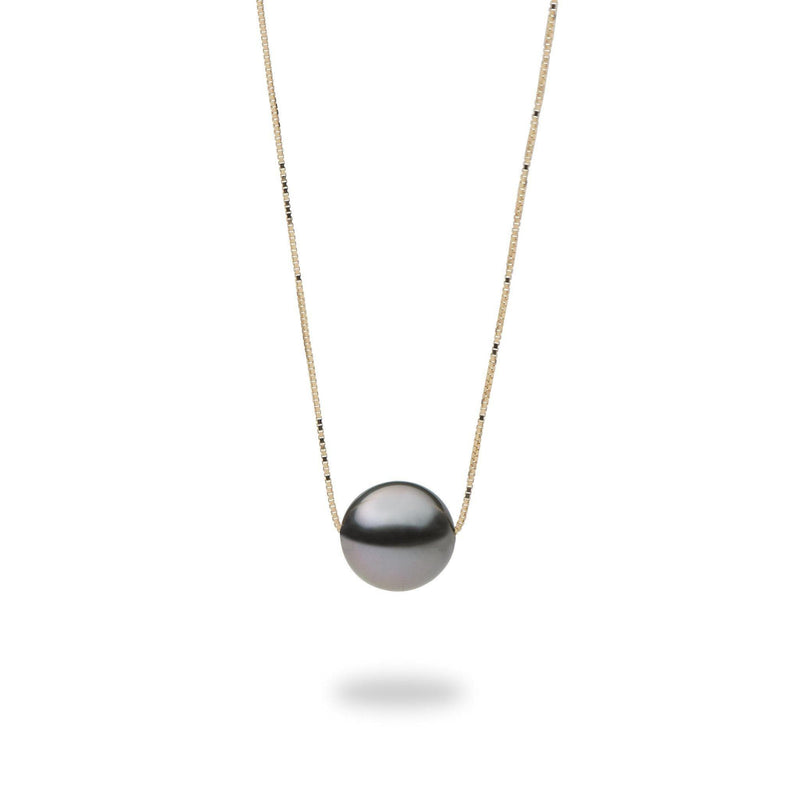 "16-18"" Adjustable Tahitian Black Pearl Slider Necklace in Gold-Maui Divers Jewelry"