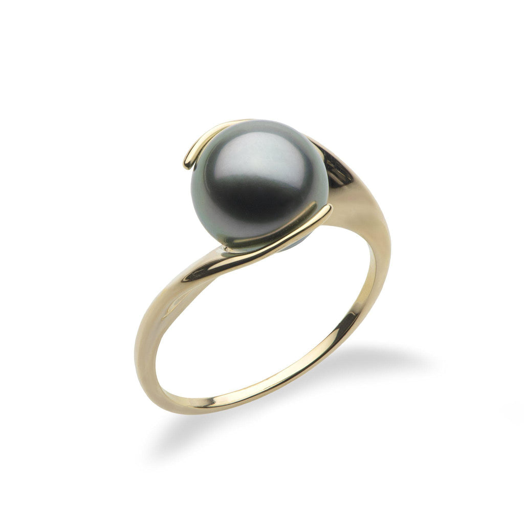 Tahitian Black Pearl Ring in 14K Yellow Gold