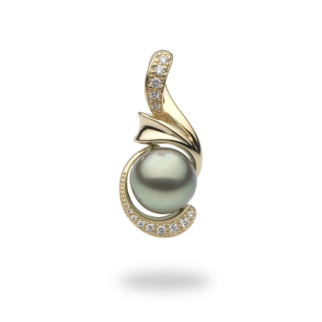 Tahitian Black Pearl Pendant in 14K Yellow Gold with Diamonds (.411)