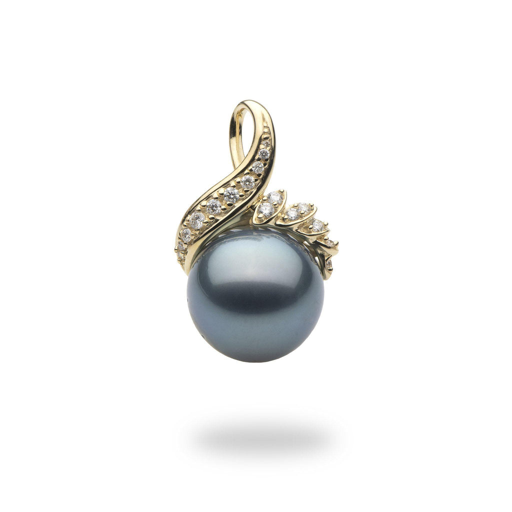 Tahitian Black Pearl Pendant in 14K Yellow Gold with Diamonds(.22)