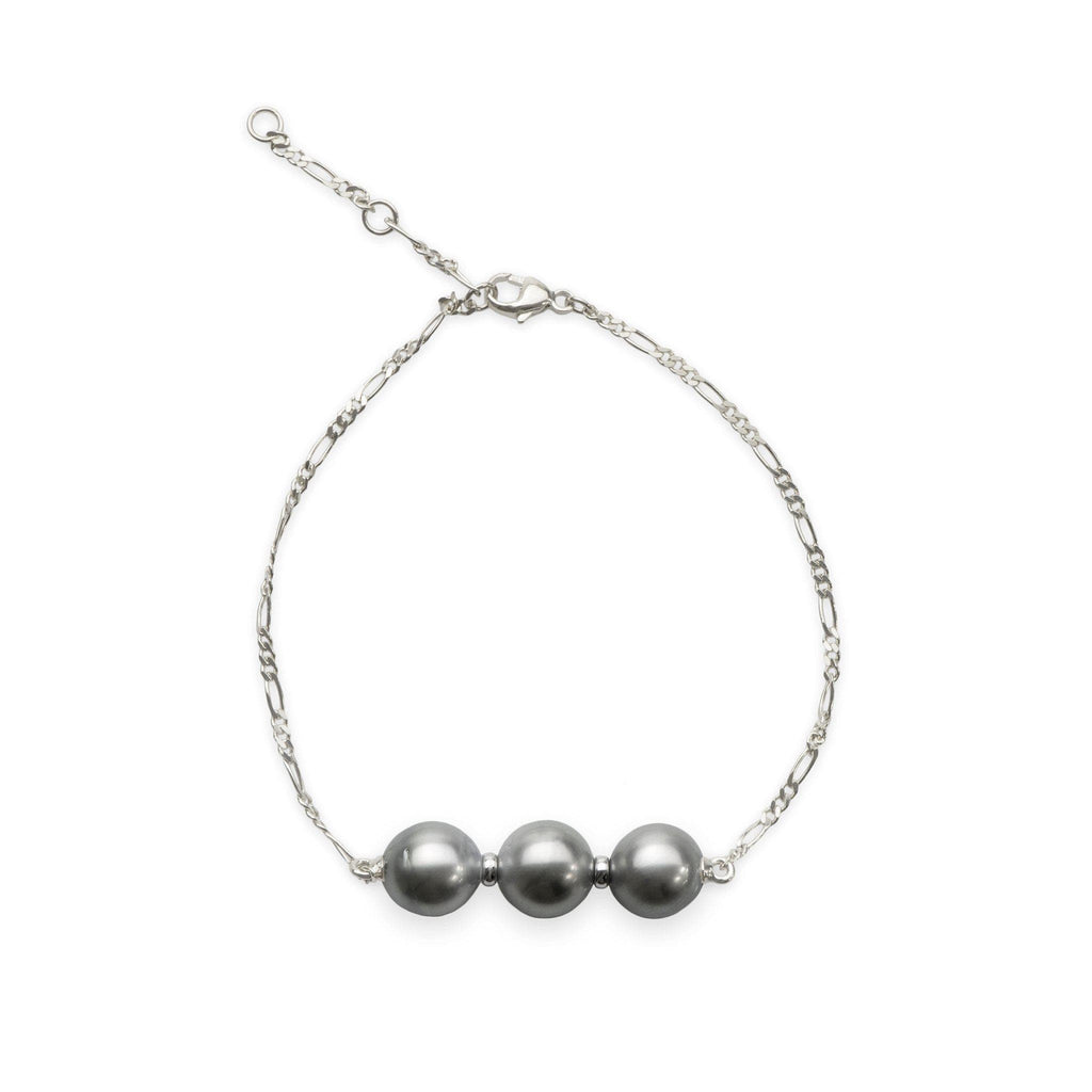 "7.5-9"" Adjustable Tahitian 3 Pearl Bracelet in 14K White Gold (8-10mm) - Maui Divers Jewelry"
