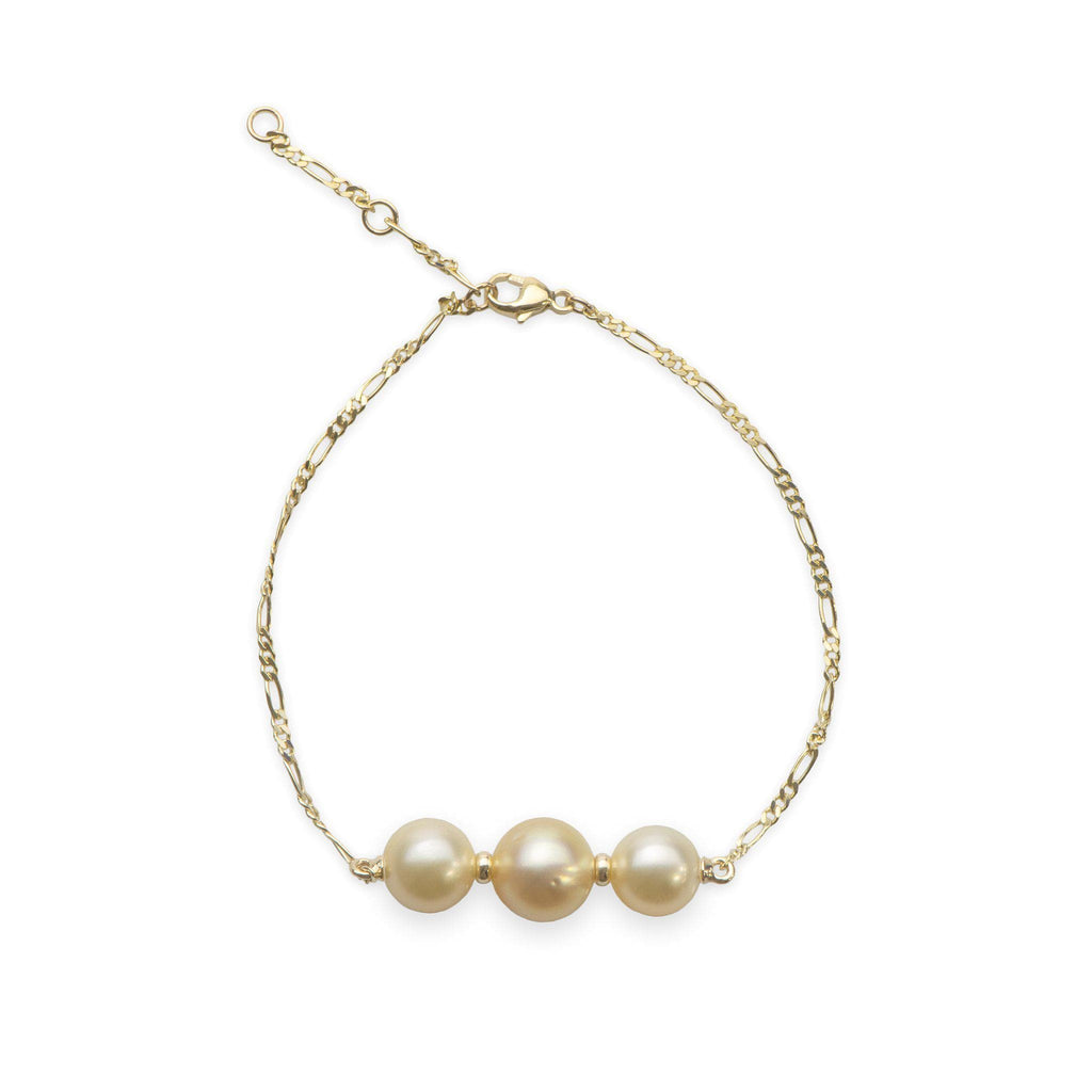 "7.5-9"" Adjustable South Sea Pearl Bracelet in 14K Yellow Gold (8-11mm)"