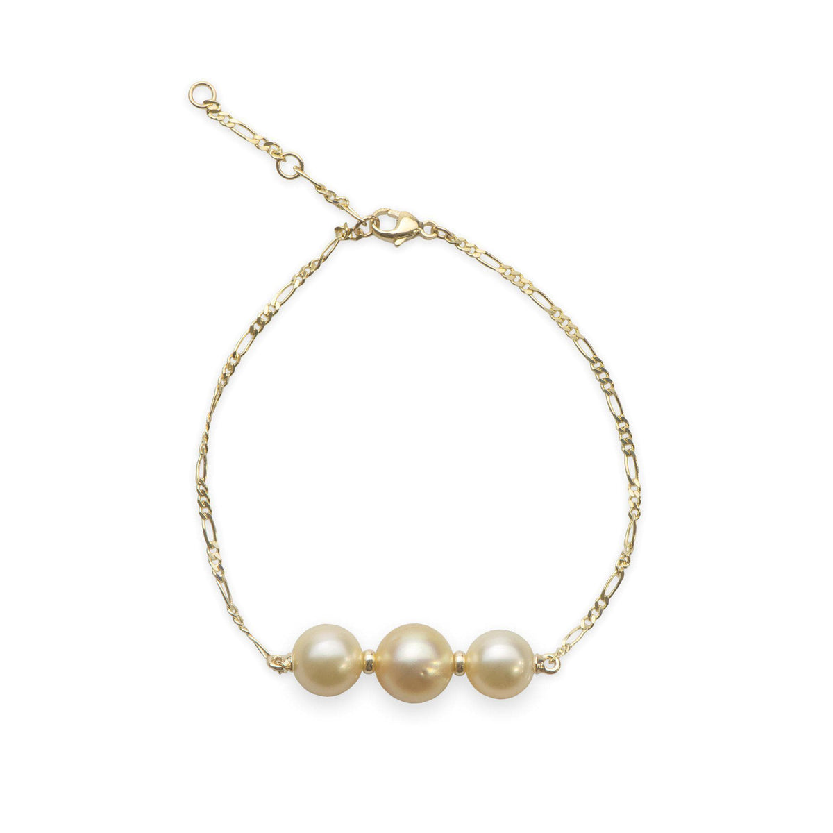 "7.5-9"" Adjustable South Sea Pearl Bracelet in 14K Yellow Gold (8-11mm)-[SKU]"