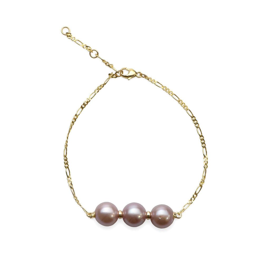 "7.5-8.5"" Adjustable Lilac Freshwater Pearl Bracelet in 14K Yellow Gold (9-10mm) - Maui Divers Jewelry"