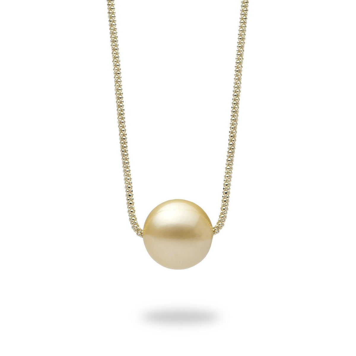 South Sea Golden Pearl Necklace in 14K Yellow Gold (14-15mm)