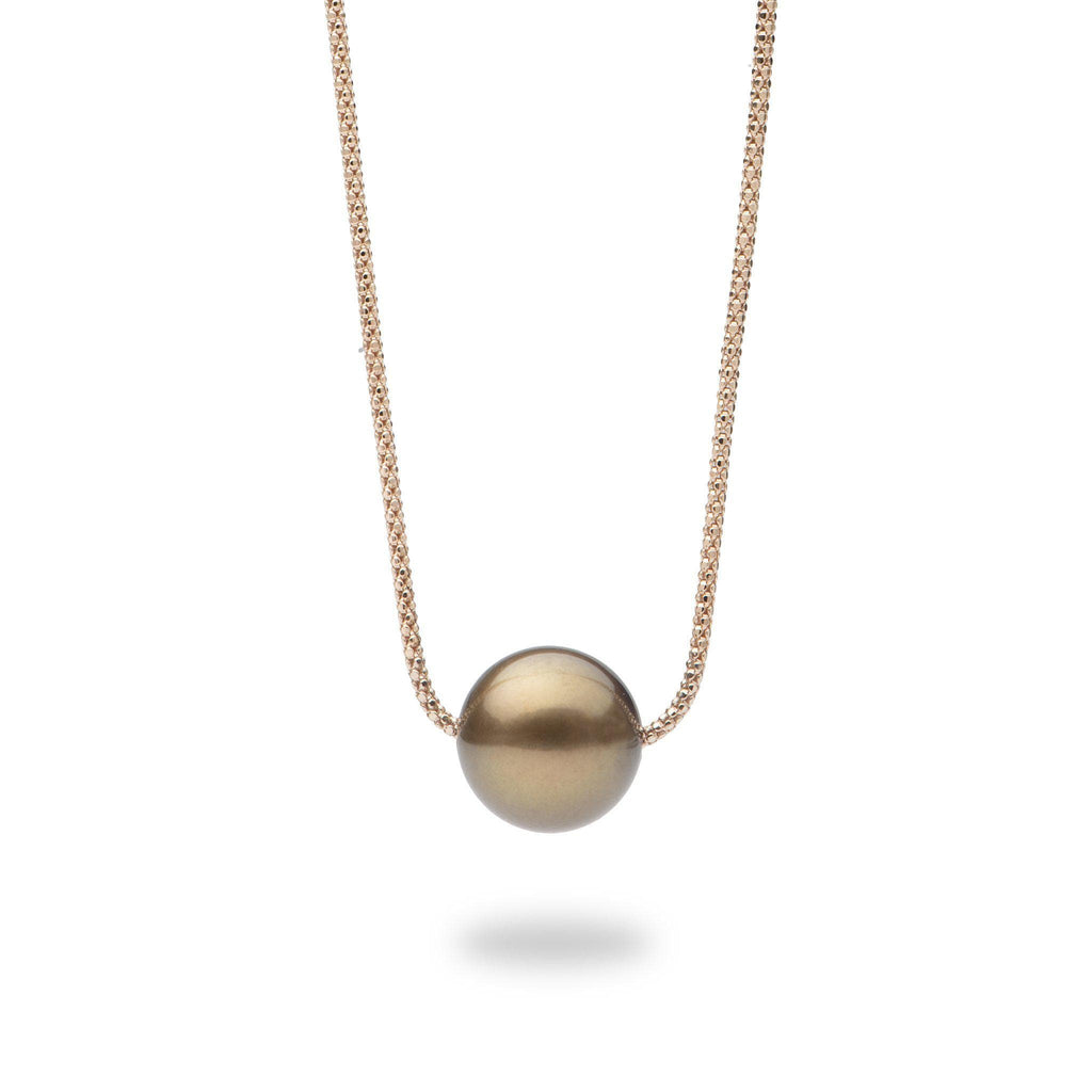 Chocolate Tahitian Pearl Necklace in 14K Rose Gold-[SKU]