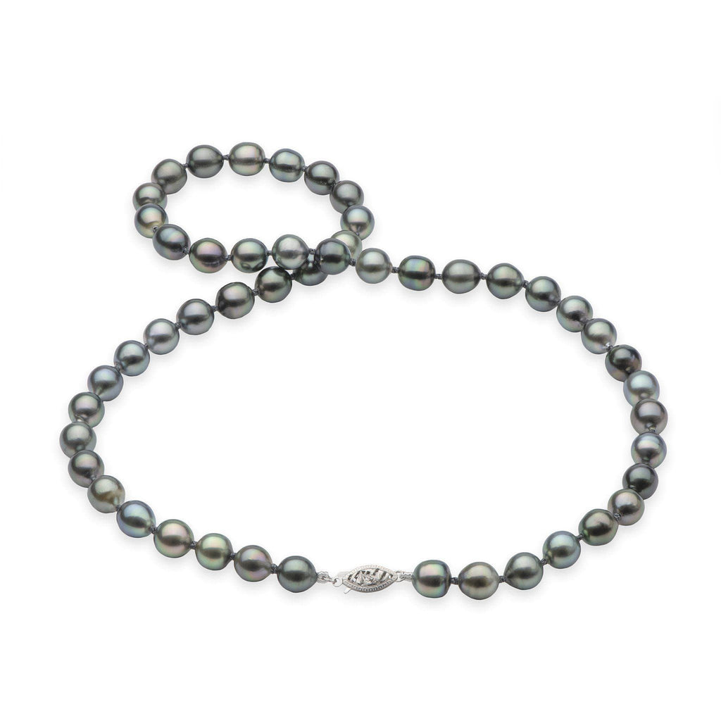 Living Heirloom Tahitian Black Pearl Strand in 14K White Gold