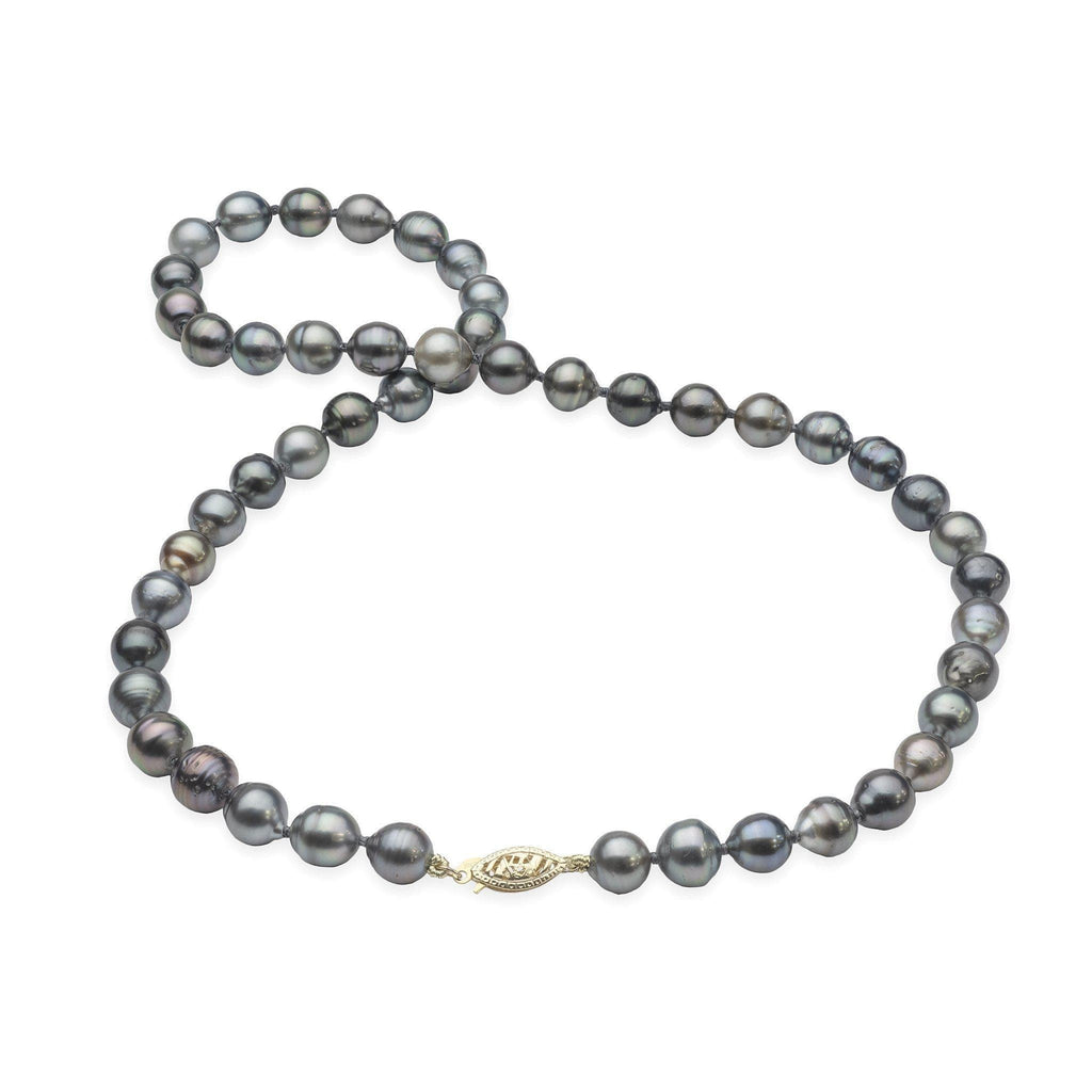 "17-19"" Tahitian Black Pearl Strand in 14K Yellow Gold (7-13mm) - Maui Divers Jewelry"