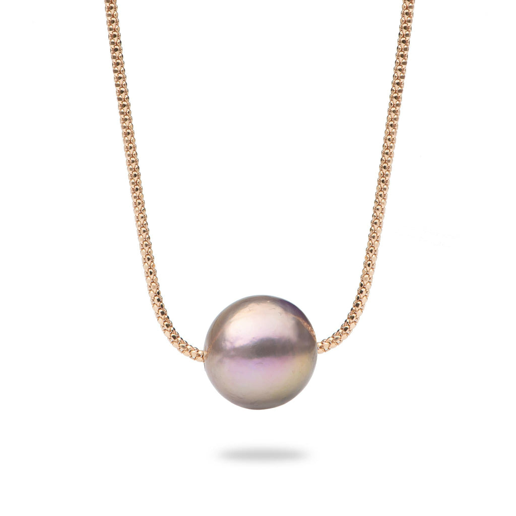 Lilac Freshwater Pearl (13-14mm) Necklace in 14K Rose Gold - Maui Divers Jewelry
