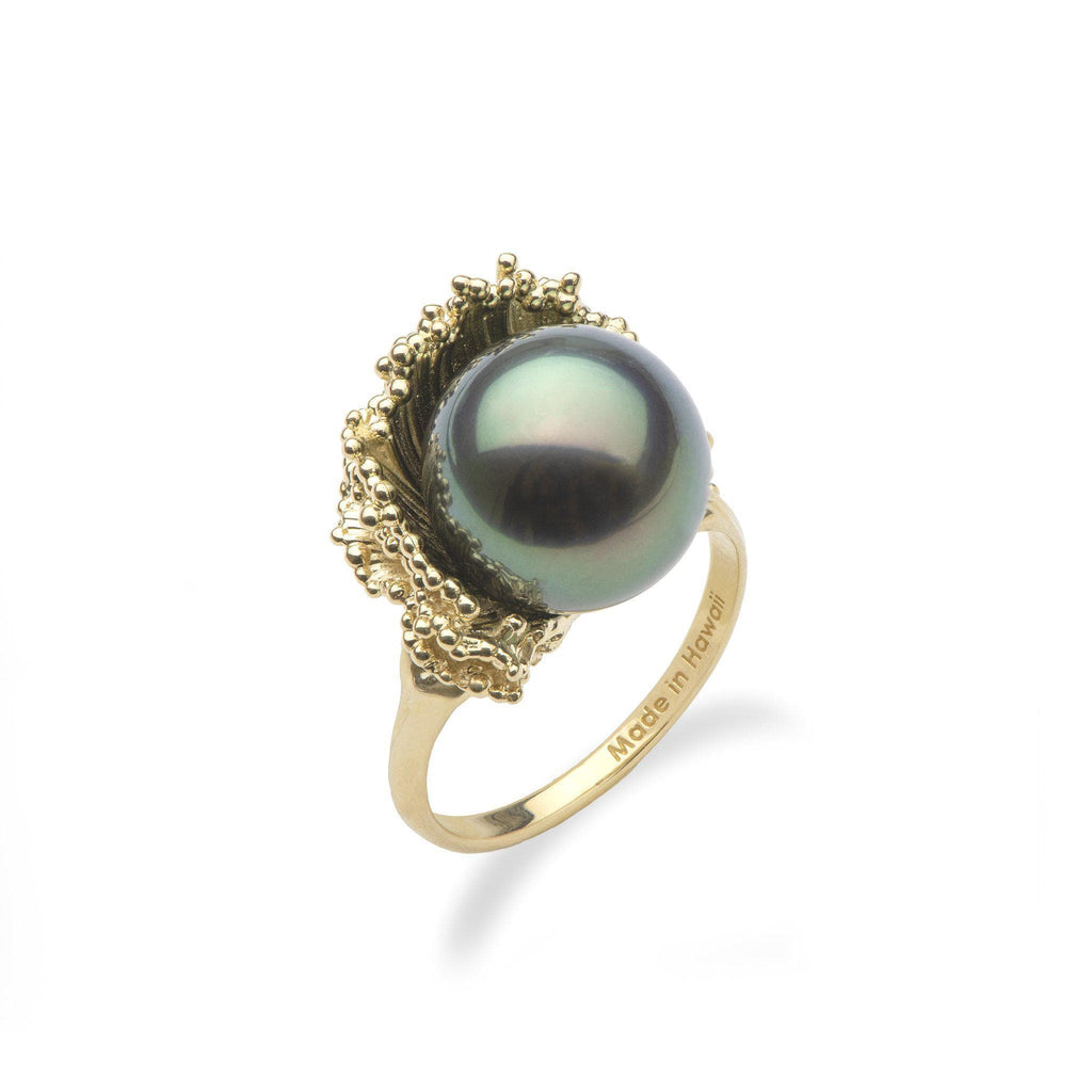 Crashing Waves Tahitian Black Pearl Ring In 14K Yellow Gold (12-13mm)-[SKU]