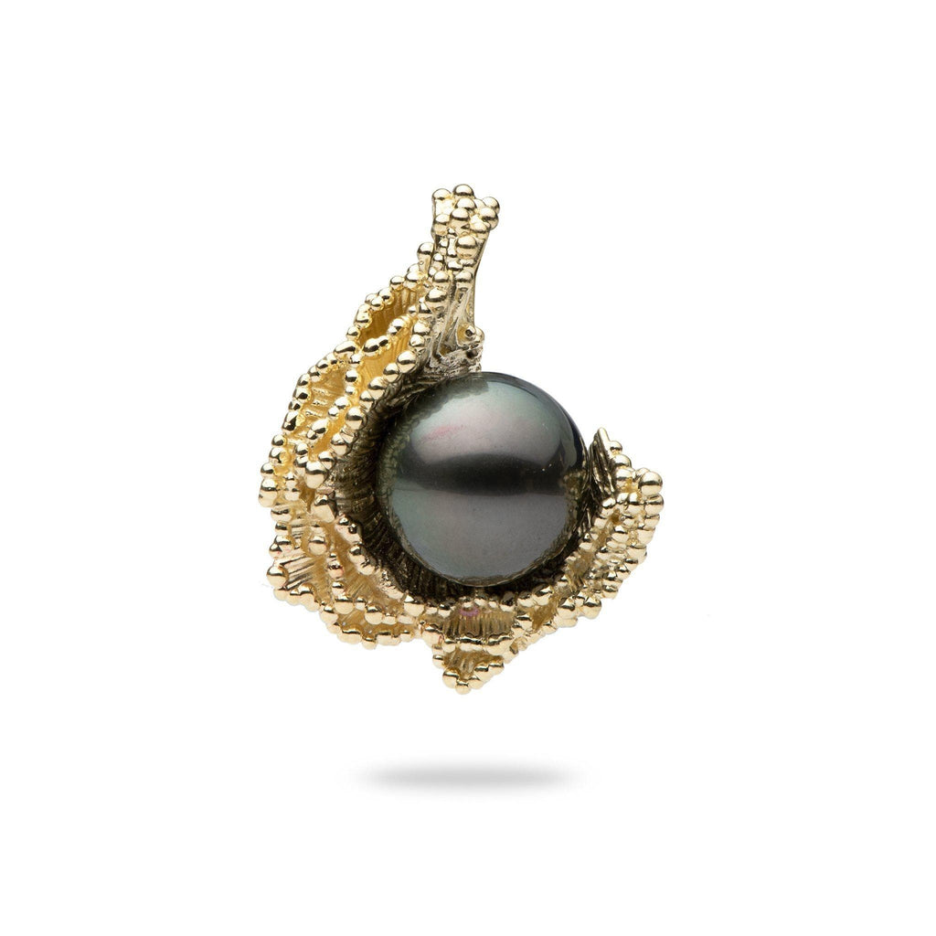 Crashing Waves Tahitian Black Pearl Pendant in 14K Yellow Gold (12-13mm) - Maui Divers Jewelry