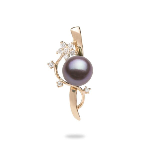 Ultraviolet Freshwater Pearl Pendant in Rose Gold with Diamonds-Maui Divers Jewelry