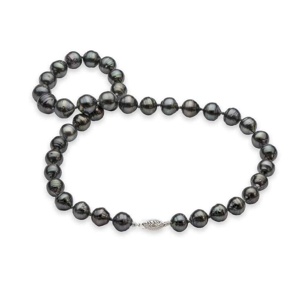 Tahitian Black Pearl Strand in 14K White Gold (7-13mm) - Maui Divers Jewelry