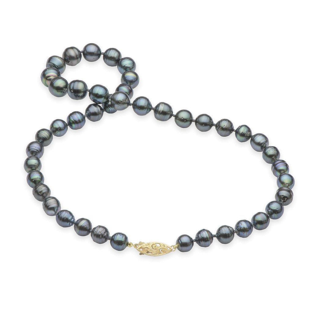 Tahitian Black Pearl Strand in 14K Yellow Gold (7-13mm)-[SKU]