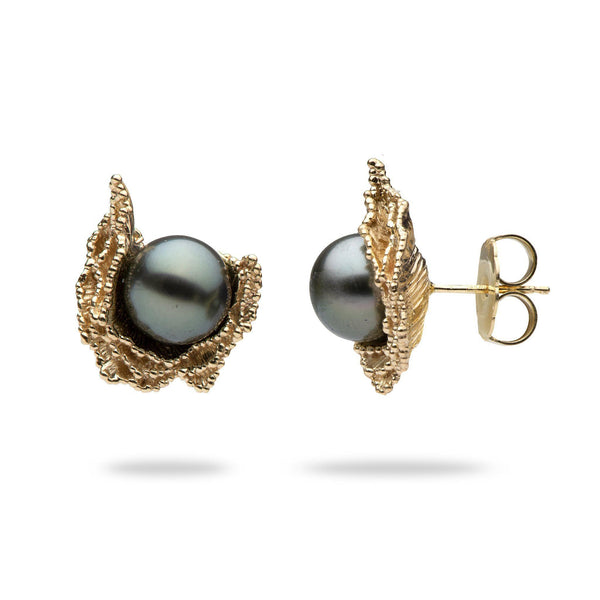Crashing Waves Tahitian Black Pearl Earrings in Gold (9-10mm)-Maui Divers Jewelry