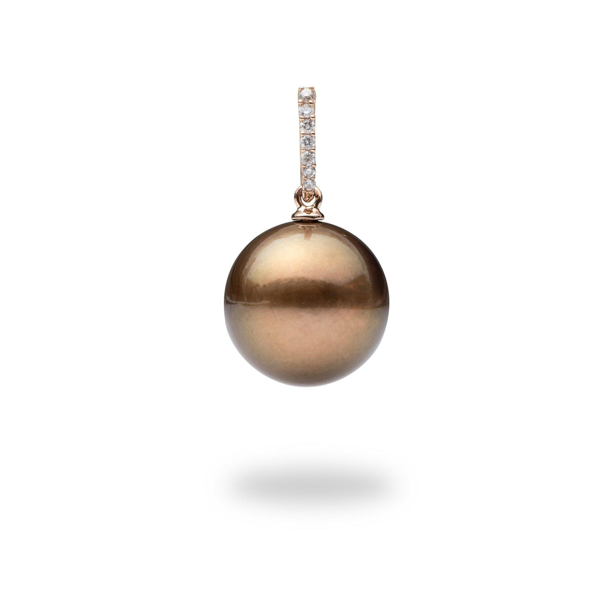 Chocolate Tahitian Pearl Pendant with Diamonds in 14K Rose Gold (13-14mm)-[SKU]