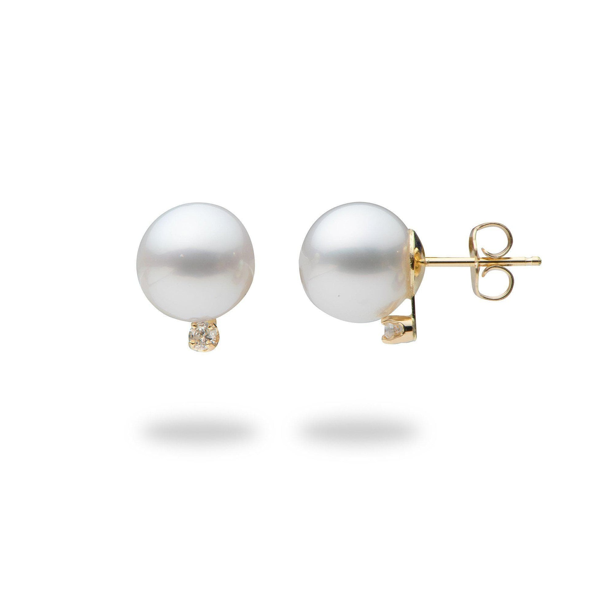 South Sea Pearl Post Earrings with Diamonds in 14K Yellow Gold (9-10mm)-[SKU]