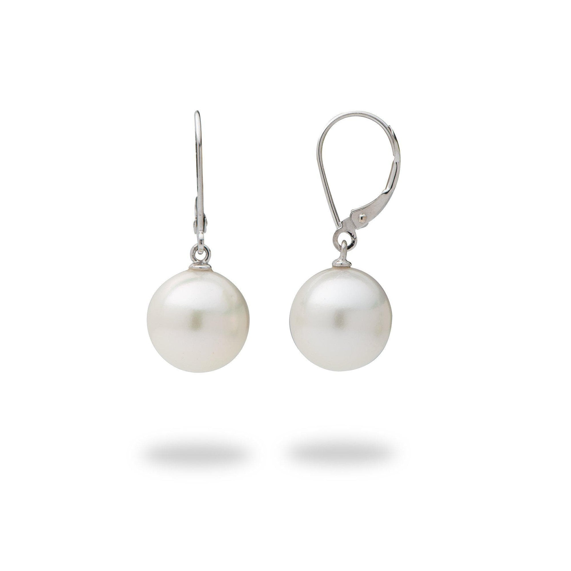 South Sea White Pearl Lever-back Earrings in 14K White Gold (11-12mm)-[SKU]