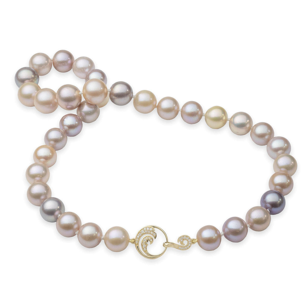 Pink Freshwater Pearl Strand in 14K Yellow Gold with Diamonds
