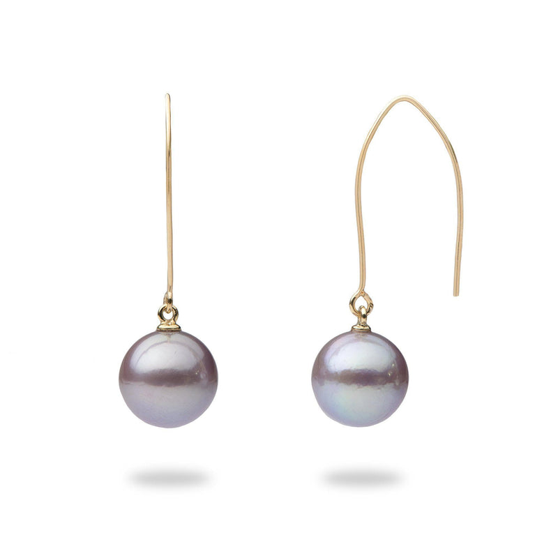 Ultra Violet Pearl Hook Earrings in 14K Yellow Gold (10-11mm)-[SKU]