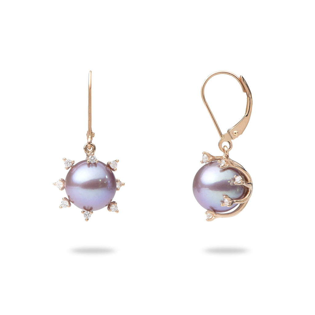 Ultra Violet Protea Pearl Earrings in 14K Rose Gold