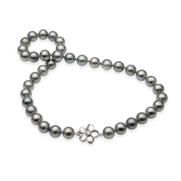"18-19"" Plumeria Tahitian Black Pearl Strand in White Gold with Diamond-Maui Divers Jewelry"