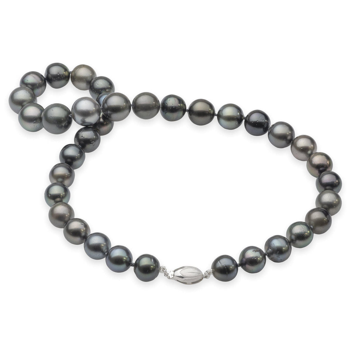 Tahitian Black Pearl Strand in 14K White Gold (9-14mm)