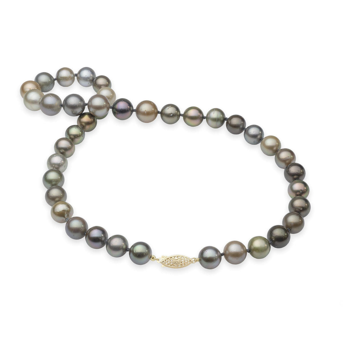 Tahitian Black Pearl Strand in 14K Yellow Gold (10-15mm)