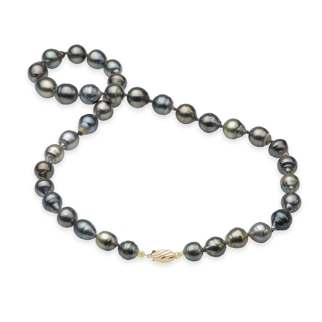 Tahitian Black Pearl Strand in 14K Yellow Gold (7-12mm)-[SKU]
