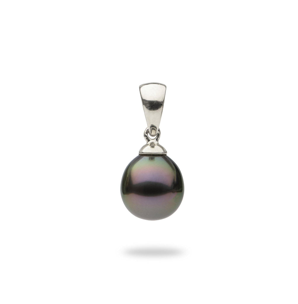 Tahitian Black Pearl Pendant in 14K White Gold (8-12mm)