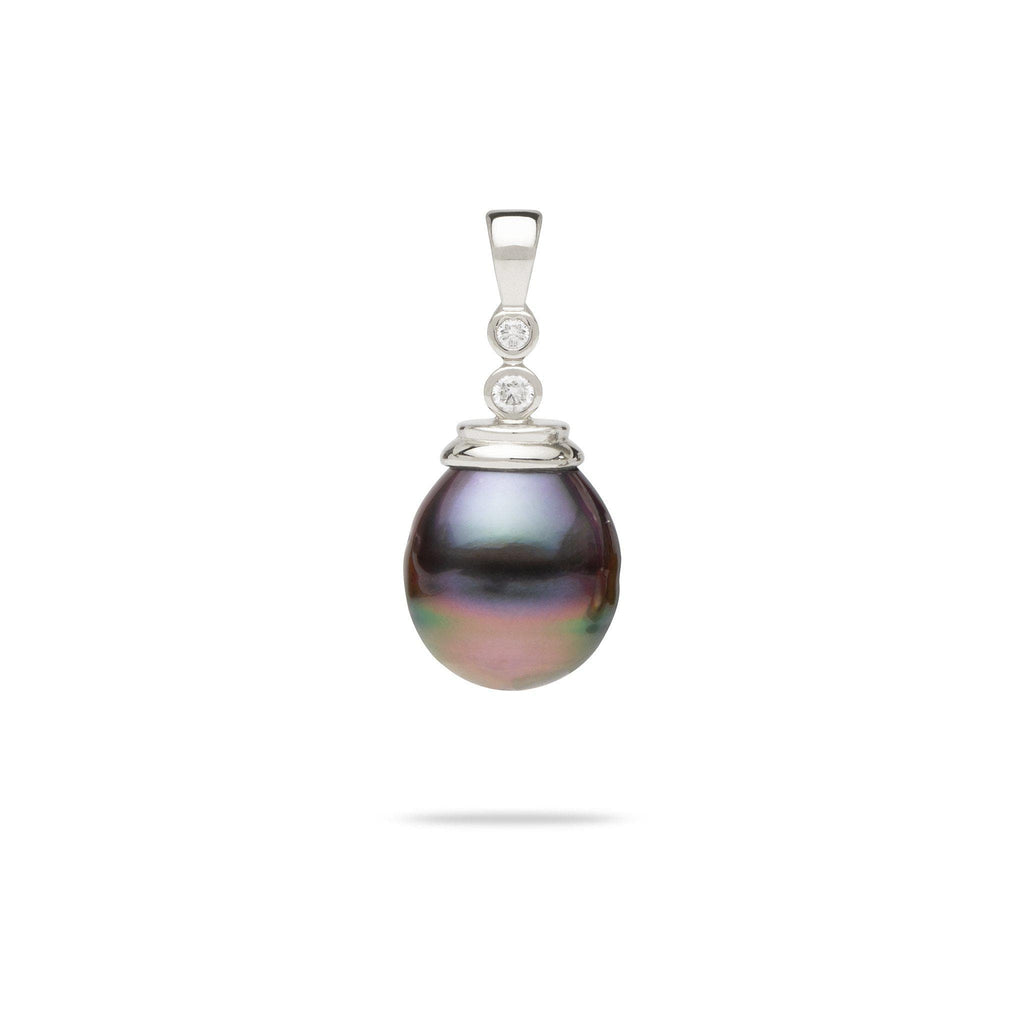 Tahitian Black Pearl Pendant with Diamonds in 14K White Gold
