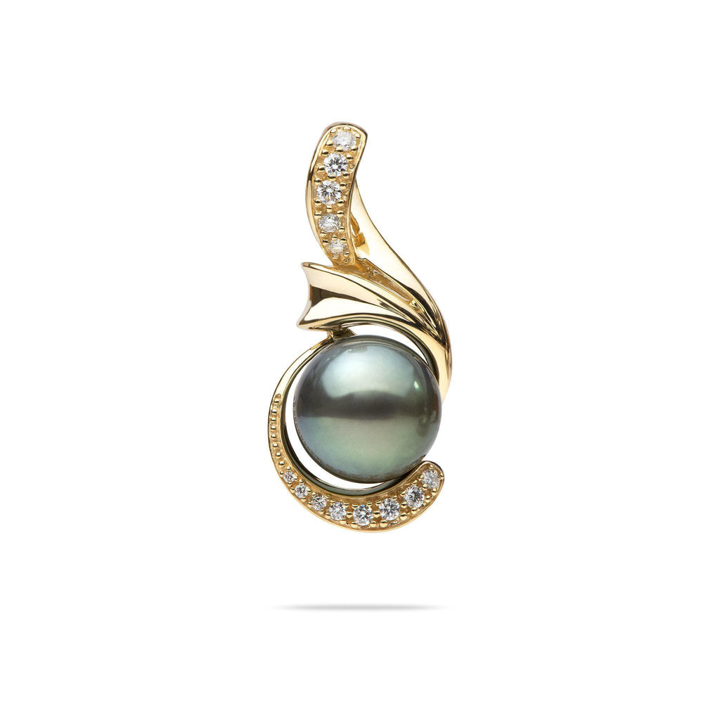 Tahitian Black Pearl Pendant with Diamonds in 14K Yellow Gold