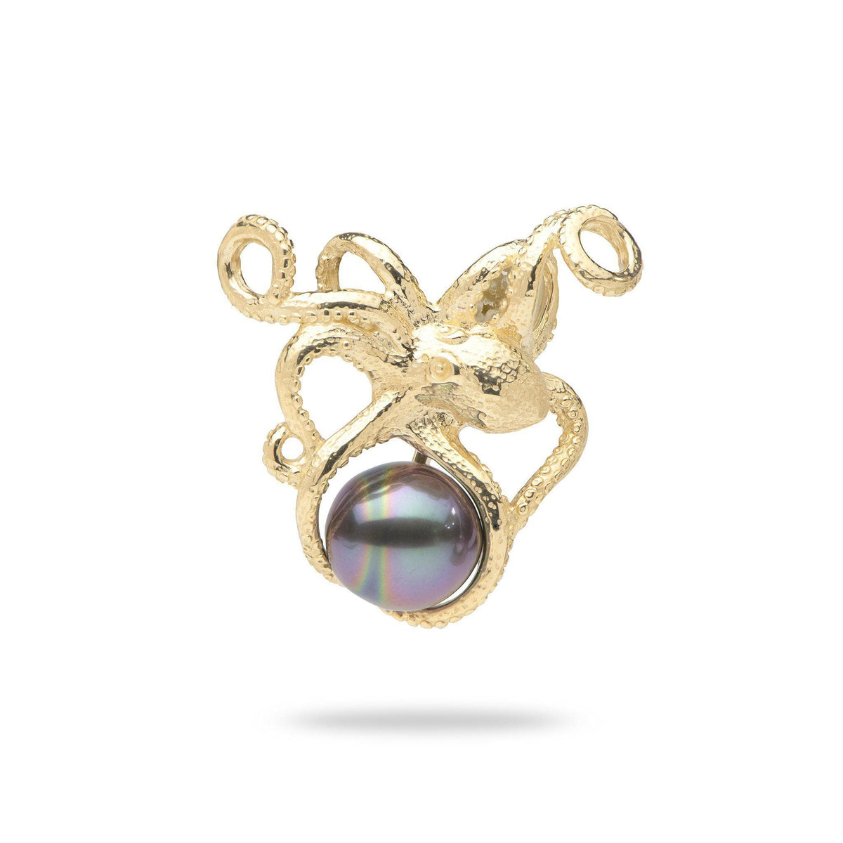 He'e (Octopus) Tahitian Black Pearl Pendant in 14K Yellow Gold 006-15376