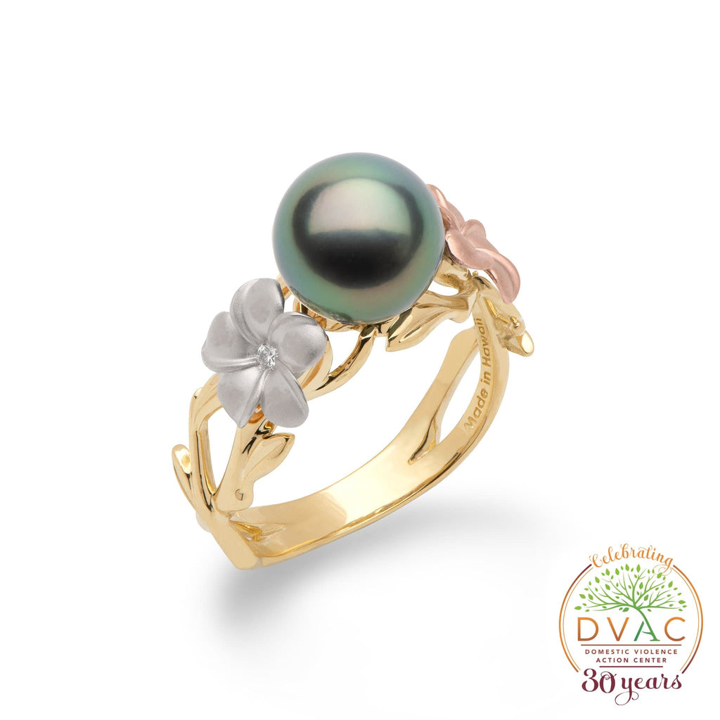 DVAC - Pearls in Bloom Tahitian Black Pearl Ring in Tri Color Gold with Diamonds - 8mm-[SKU]